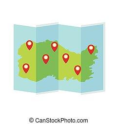 icona, isolato, carta, guida, mappa