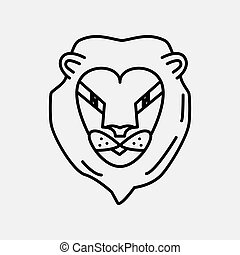 icona, isolato, simbolo, vettore, segno, leone, illustrazione