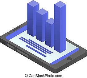 icona, isometrico, smartphone, stile, grafico