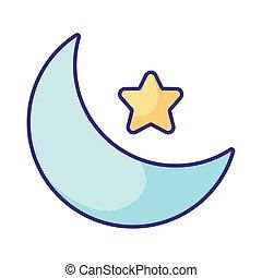 icona, luna, stella, appartamento, stile