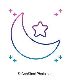 icona, luna, stella, pendenza, linea, stile