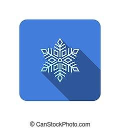 icona, lungo, uggia, appartamento, fiocco di neve, vettore
