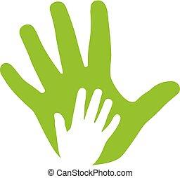 icona, mani, adulto, famiglia, capretto