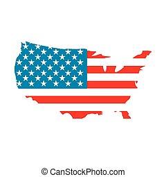 icona, mappa, bandiera usa