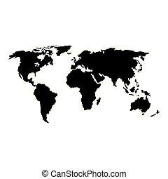 icona, mappa, mondo, isolato, terra