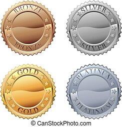 icona, medaglie, set