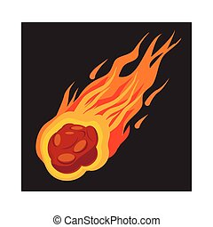 icona, meteorite, cadere, stile, cartone animato