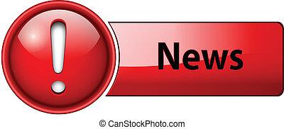 icona, notizie, bottone