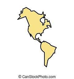 icona, nuovo, continente, americano, isolato