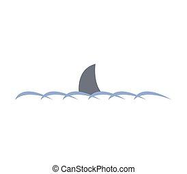 icona, pinna, squalo