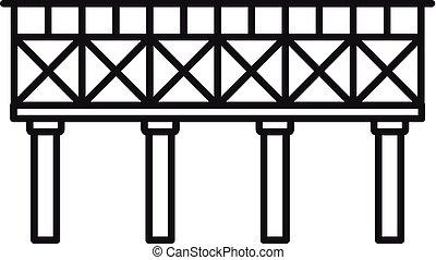 icona, ponte, ferrovia, stile, contorno