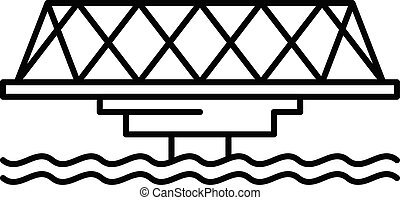icona, ponte, stile, metallo, contorno