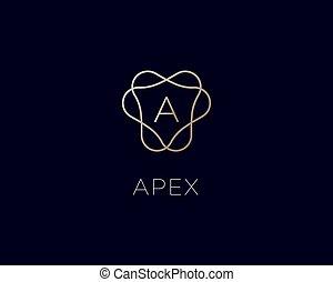 icona, premio, logo., lettera, lineare, alfabeto, logotype., simbolo., monogram, cresta, elegante, cornice, pendenza, vettore, francobollo, lusso