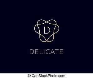icona, premio, logo., lettera, lineare, alfabeto, logotype., simbolo., monogram, cresta, elegante, cornice, pendenza, vettore, francobollo, d, lusso