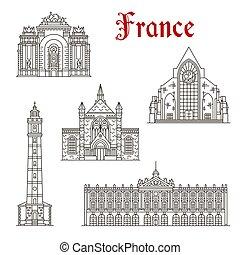 icona, punto di riferimento, francese, viaggiare, lineare, architettura
