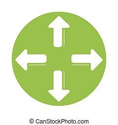 icona, quattro, silhouette, stile, frecce, indicazione