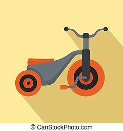 icona, ragazzo, stile, triciclo, appartamento