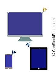 icona, rete, congegni, set., mobile