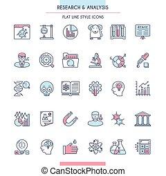 icona, ricerca, analisi, set