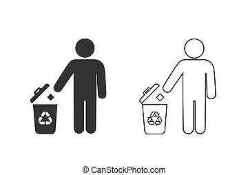 icona, riciclare, fondo., uomo, set, rifiuti, linea bianca, isolato, vettore, bidone