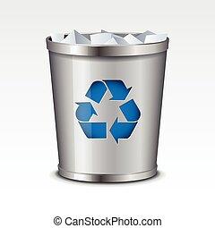 icona, riciclare, vettore, bidone