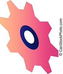 icona, ruota dentata, isometrico, stile, rosso