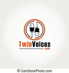 icona, sagoma, arancia, concetto, nero, voci, microfono, podcast, ellisse, arrotondato, logotipo, gemello, disegno