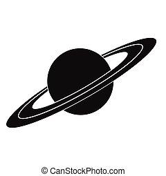 icona, semplice, saturno, nero