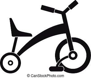 icona, semplice, stile, bambini, triciclo