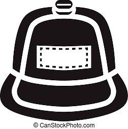 icona, semplice, stile, berretto, rap