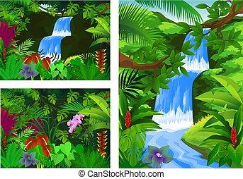 icona, set, cornice, cascata, scenario