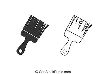 icona, simbolo, linea, vettore, set, vernice, illustrazione, spazzola
