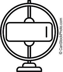 icona, stare in piedi, contorno, impeto, giroscopio, vector., sensore