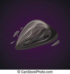 icona, stile, asteroide, cartone animato