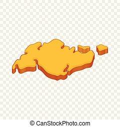 icona, stile, continente, cartone animato
