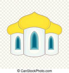 icona, stile, cupole, cartone animato, chiesa