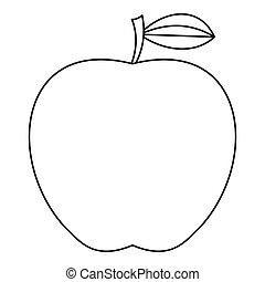 icona, stile, mela, contorno