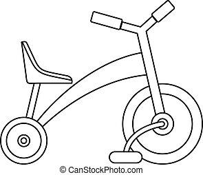 icona, stile, triciclo, contorno, bambini
