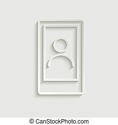 icona telefono, linea, icon., mobile, utente, style., persone