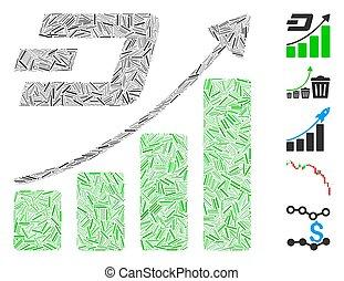 icona, tendenza, portello, crescita, collage, lineetta