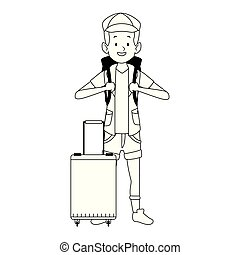 icona, turista, zaino, cartone animato