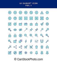 icona, ui, 1, vol, aggeggio, set