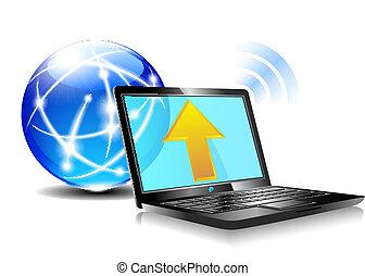 icona, upload, nuvola, internet