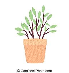 icona, vaso, natura, giallo, ceramica, casa, primavera, pianta, stagione