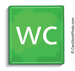 icona, verde, lucido, wc