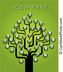 icona, vettore, albero