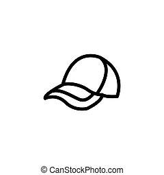 icona, vettore, berretto, illustrazione, casuale, linea