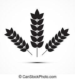 icona, vettore, frumento, illustrazione, orecchie