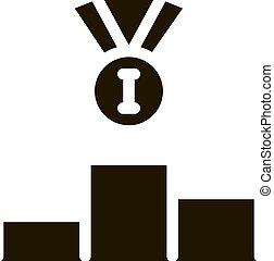 icona, vincente, 1, illustrazione, glyph, medaglia, vettore, posto