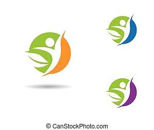 icona, vita, vettore, sano, sagoma, logotipo